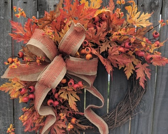 Fall Wreath, Fall Berry Wreath, Fall Leaf Wreath, Fall burlap Wreath, Fall Bittersweet Wreath