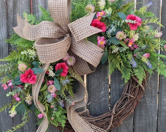 Spring Wreath, Spring Greenery Wreath, Purple and Pink Wreath, Front Door Wreath, Houswarming Gift, Wreath for Spring and Summer, Wreath