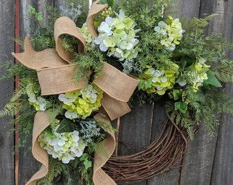 Hydrangea Spring Wreath - Wedding Wreath Green Cream - Everyday Burlap Wreath, Door Wreath, Front Door Wreath