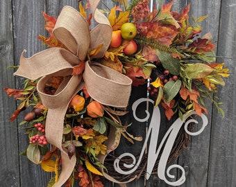 Fall Wreath, Autumn Wreath, Burlap Fall Wreath, Burlap Fall Monogram Wreath, Wreath with Letter, Horn's