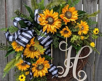 Spring / Summer Wreath, Wreath for Spring / Summer, Burlap Sunflower Wreath, Burlap Spring Monogram Wreath, Wreath with Letter, Horn's