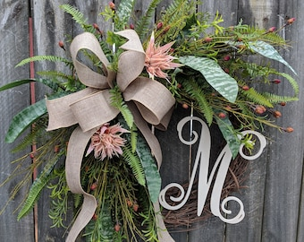 Door Wreath, Monogram Wreath, Blush Wreath, Greenery Wreath for All Year Round, Everyday Wreath, Green Wreath, Natural Wild Front Door