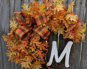 Wreaths fall wreath autumn wreath monogram wreath wreath front door wreath fall Leaves Thanksgiving fall door wreaths