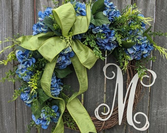 Spring Wreath, Hydrangea Wreath, Summer Wreath, Front Door Wreath, Everyday Blue Hydrangea Wreath, Door Wreath, Wreath with Bow