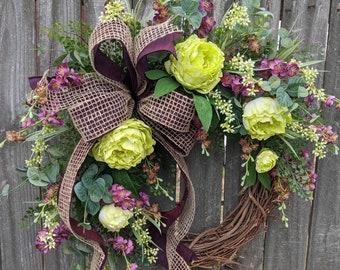 Spring Wreath, Deep Plum Purple Wreath, Summer Wreath, Green and Purple Front Door Wreath, everyday Wreath, Door Wreath LIMITED EDITION