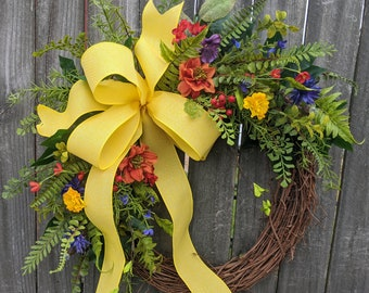 Spring wreath, wildflower wreath, fern wreath, welcome wreath, Summer wreath, door wreath, Yellow Wreath, Mixed flowers door wreath