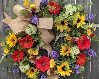 Spring Wreath, Spring/Summer Wreath, Spring Wreath with Bow,  Wildflower Wreath, Summer Wreath, Burlap Bow, Sunflower and Poppy Wreath