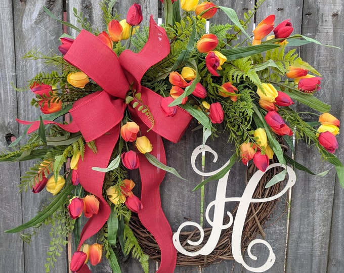Featured listing image: Tulip  Wreath with Monogram For Spring, Red Tulip Wreath For Spring