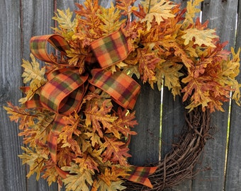Fall Wreath, Fall Leaves Wreath, Fall Leaf Wreath, Fall Check Ribbon