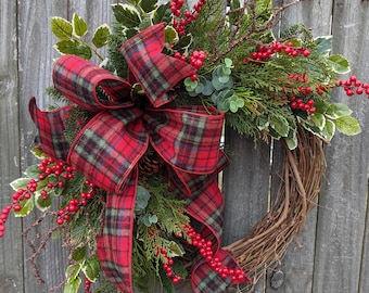 Christmas / Holiday Wreath / Grapevine Plaid Wreath with with Berries and Pine/ Natural Christmas Wreath / eucalyptus Christmas Wreath