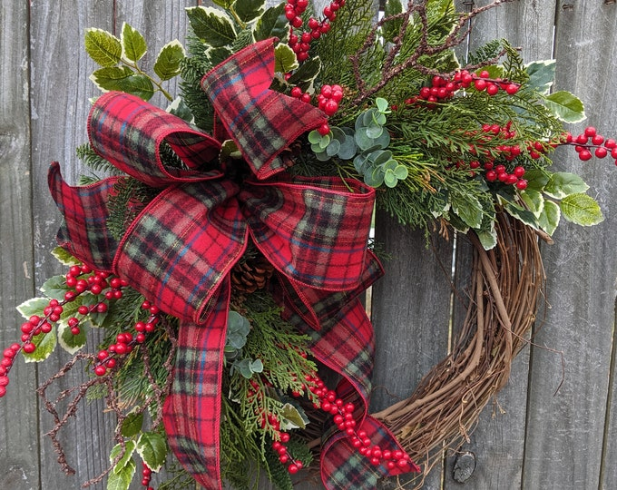 Featured listing image: Christmas / Holiday Wreath / Grapevine Plaid Wreath with with Berries and Pine/ Natural Christmas Wreath / eucalyptus Christmas Wreath