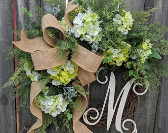 Hydrangea Spring Wreath - Wedding Wreath Green Cream - Everyday Burlap Wreath, Door Wreath, Front Door Wreath