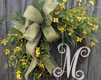 Spring Wreaths,  Front Door Wreath,  Forsythia Wreath, Front Door Wreath, Everyday Yellow Bell Wreath, Door Wreath, Wreath with Bow