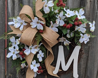 Spring Dogwood Wreath - Spring White Wreath -  Cream Dogwood Front Door Wreath Decor, Monogram Springtime Wreath, Spring Woodland Wreath