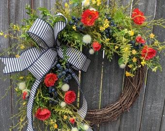 Spring Wreath, Red Poppy Wreath, Door Wreath, Spring blueberry Wreath, Front Door Wreath for Spring and Summer, Blue Ticking, Navy Wreath