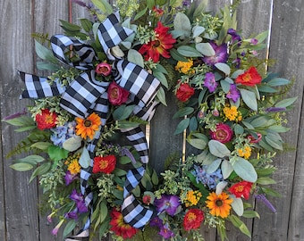 Spring Wreath, Spring/Summer Wreath, Spring Wreath with Bow,  Wildflower Wreath, Summer Wreath, Black and White Buffalo Check, Lambs Ear