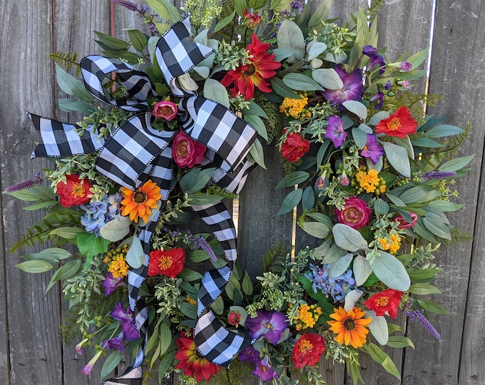 Featured listing image: Spring Wreath, Spring/Summer Wreath, Spring Wreath with Bow,  Wildflower Wreath, Summer Wreath, Black and White Buffalo Check, Lambs Ear