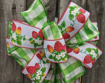 Wreath Bow Only, Strawberry Fields Summer and Spring Bow, Nostalgic Berry Bow for Wreath, Green Buffalo Check Bow