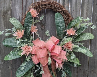 Wreath, Everyday Bromeliad Wreath, Spring Wreath, Summer Wreath, Blush Coral, Door Wreath,  Front Door Wreath, Tropical Blush