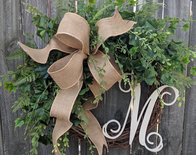 Featured listing image: Door Wreath, Monogram Wreath, Burlap Wreath, Greenery Wreath for All Year Round, Everyday Wreath, Green Wreath, Natural Wild Front Door