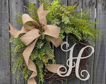 Door Wreath, Monogram Wreath, Burlap Wreath, Succulent Wreath for All Year Round, Everyday Wreath, Green Wreath, Natural Wild Front Door