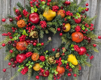Christmas Wreath - Williamsburg Style Christmas Wreath with Fruit and Berries - Christmas Fruit Wreath