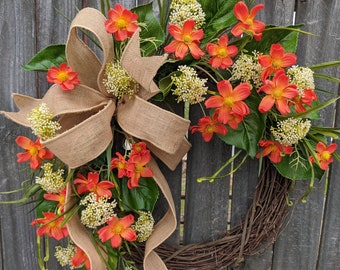 Spring Wreath, Orange Wreath, Summer Wreath, Front Door Wreath, Burlap and Orange Wreath, Door Wreath, Wreath with Bow