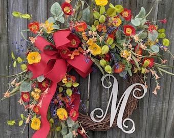 Door Wreath, Monogram Wreath, Red Poppy Wreath, Wreath for Spring and Summer, Wreath, Natural Wild Front Door