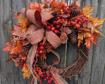 Fall Door Wreath, Berries, Fall Bow, Wired Fall Bow, Halloween Wreath, Fall Decoration, Eucalyptus Fall Wreath, Burgundy and Orange