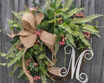 Wreath, Everyday Wreath, Green Wreath with Touch of Coral, Spring Summer Wreath, Door Wreath, Green and Coral, Fern Wreath, Etsy Wreath