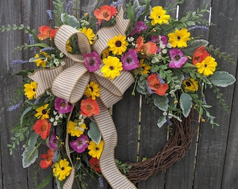 Farmhouse Wreath, Bright Spring wreath, Wildflower Wreath, Horizontal Ticking, Spring Wreath, Summer Wreath