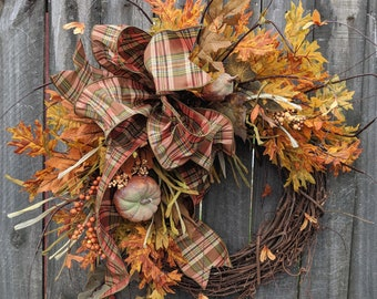 Fall Wreaths, Pumpkin Wreath, Front Door Fall Wreath, Fall Front Door Wreath