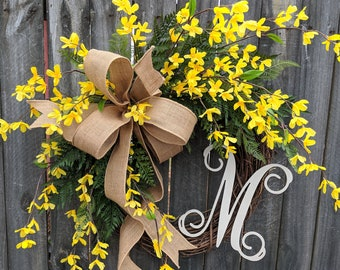 Forsythia Monogram Wreath, Wreath for Spring, Burlap Wreath with Monogram, Wreath with Burlap Bow, Yellow Bell Wreath, Horn's Handmade