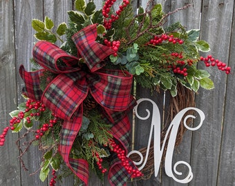 Christmas Wreath, Holiday Decor, Plaid, Berries, Eucalyptus, and Pine,Wreath with Letter, Initial, Monogram, Wreath, Christmas Decor