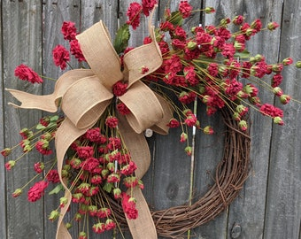 Wreath, Red Rustic Wreath, Wreath, Burlap Wreath, Fall Wreath, Everyday Wreath for Spring, Summer, and Fall, Front Door Wreath, Etsy