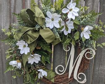 Spring Wreath Magnolia, Wreath, Cream Spring Wreath, Elega Wreath, Everyday Wreath for Spring, Summer, and Fall, Front Door Wreath, Etsy