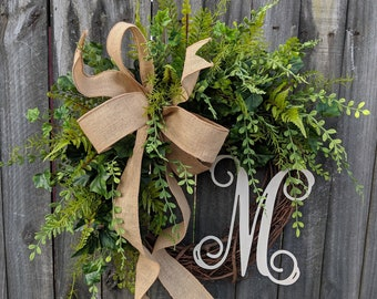 Door Wreath, Monogram Wreath, Burlap Wreath, Greenery Wreath for All Year Round, Everyday Wreath, Green Wreath, Natural Wild Front Door