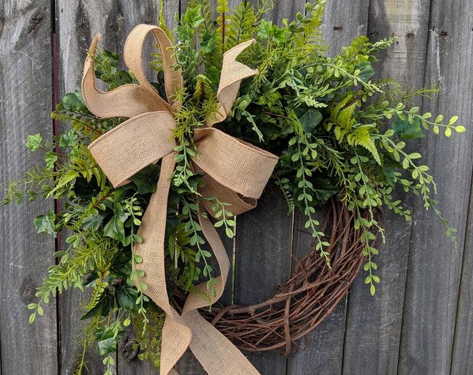 Featured listing image: Greenery Wreath - Wreath Great for All Year Round - Everyday Burlap Wreath, Door Wreath, Front Door Wreath