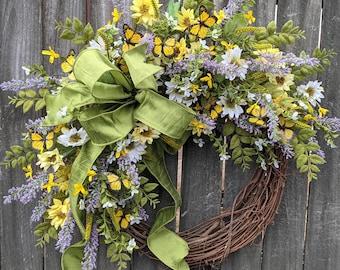 Spring Summer Wreath, Wreath Wild Flower and Forsythia Wreath, Butterfly Wreath, Butterfly Forsythia Wreath, Spring Wreaths