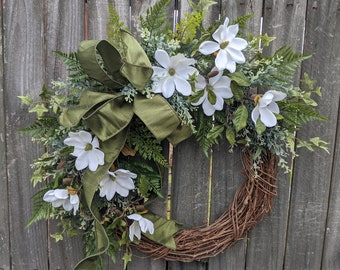 Spring Wreath Magnolia, Wreath, Cream Spring Wreath, Elega Wreath, Everyday Wreath for Spring, Summer, and Fall, Front Door Wreath, Etsy