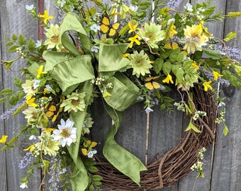 Spring Summer Wreath, Wreath Wild Flower and Forsythia Wreath, Butterfly Wreath, Butterfly Forsythia Wreath, Spring Wreaths