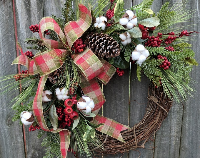 Featured listing image: Holiday / Christmas Wreath / Grapevine Berry Wreath with Rustic Plaid / Natural Christmas Wreath / Cotton Christmas Wreath