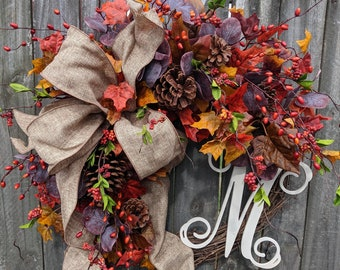Fall Wreaths for Autumn Decor, Purple Burgundy Orange Fall Colors Wreaths for Front Door, Halloween Wreath, Corporate Gift