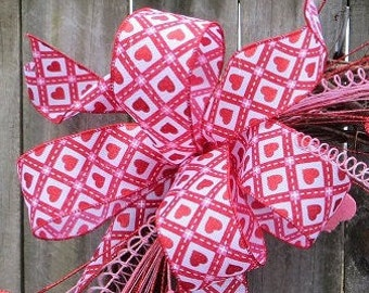 Valentine's Day Bow, Valentine's Day Hearts Wreath Bow Only, Valentine Wreath With Hearts, Hearts and Argyle Bow