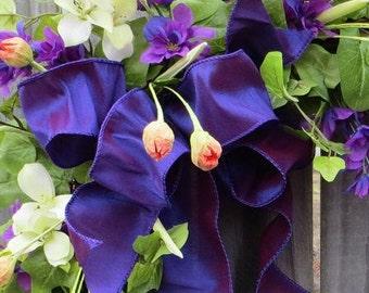 Wreath Bow, Purple Wreath Bow, Spring / Summer Wreath Bow Decor, Wired Faux Silk Bow, Elegant Spring Wreath Bow, Decor Bow
