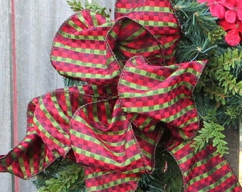 """Wreath Bow for Christmas, Wired Christmas Bow, Bow for Christmas wreath, 4"""" Unique Wreath Bow, Bow Only, Red, Green, Burgundy, Black,"""