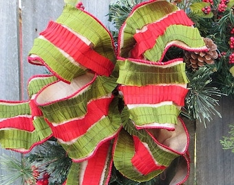 "Christmas Bow, Elegant, Luxurious Wired Christmas Bow, Bow Only, Christmas Wreath Bow, Christmas Decoration Bow, 4"" Christmas Ribbon"