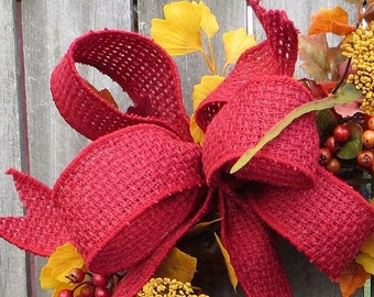 Wreath Bow, Red Burlap Wreath Bow, Burlap Basket Weave Ribbon, Red Bow Only, Rustic Christmas Wreath Bow, Fall Bow, Red Bow for Lantern