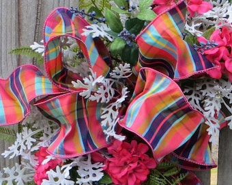 Spring / Summer Bow for Wreath, BOW only for wreath, Summer Plaid Ribbon, Coral, Turquoise Bow for Wreath, Bow Decoration, Coral Turquoise