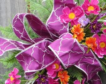 Spring Bow, Rosy Purple Wreath Bow, Quatrefoil Bow, Bow for Wreath, Purple Bow for Wreath